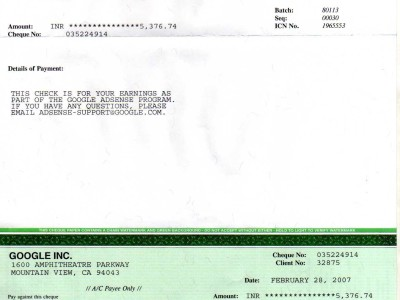 my first cheque from google adsense
